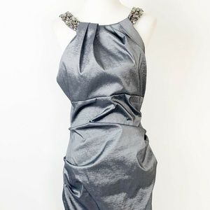 Xscape by Joanna Chen Size 14 Silver Ruched dress